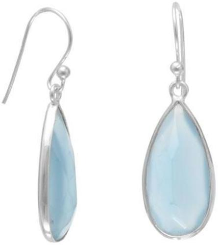 Blue Chalcedony Pear Shape Earrings 925 Sterling Silver
