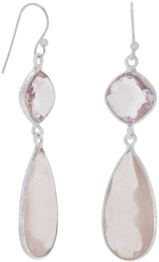 Pink Amethyst and Rose Quartz Drop Earrings 925 Sterling Silver