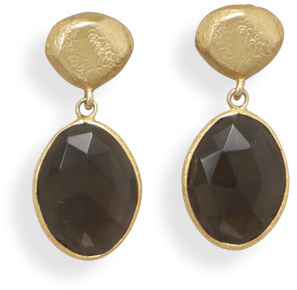 14 Karat Gold Plated Smoky Quartz Earrings 925 Sterling Silver - DISCONTINUED