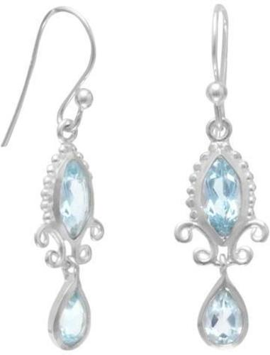 Multishape Blue Topaz Earrings 925 Sterling Silver