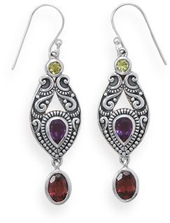 Oxidized Ornate Multistone Drop Earrings 925 Sterling Silver