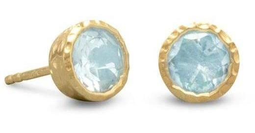 14 Karat Gold Plated Silver Blue Topaz Stud Earrings 925 Sterling Silver