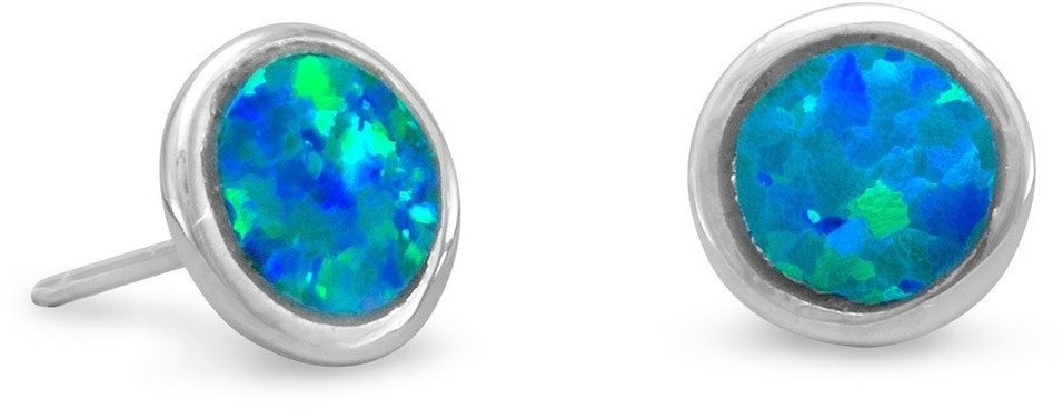 Rhodium Plated Synthetic Opal Stud Earrings 925 Sterling Silver