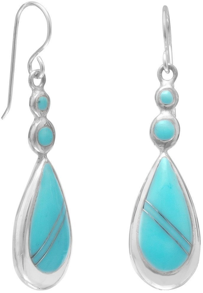 Round and Pear Shape Turquoise Drop Earrings 925 Sterling Silver