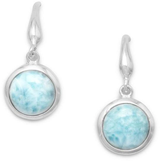 Rhodium Plated Genuine Larimar Drop Earrings 925 Sterling Silver