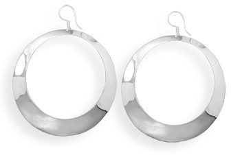 Polished Open Circle Earrings 925 Sterling Silver