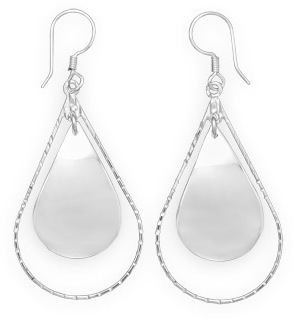 Double Pear Shape Drop Earrings 925 Sterling Silver