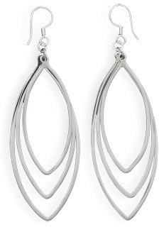 Graduated Marquise Drop Earrings 925 Sterling Silver