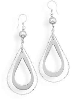 Bead and Double Pear Drop Earrings 925 Sterling Silver
