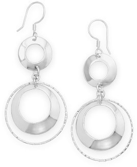 Multi Circle Drop Earrings 925 Sterling Silver