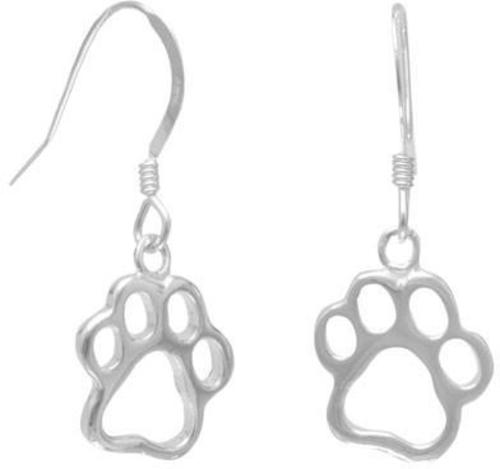 Cut Out Paw Print Earrings 925 Sterling Silver