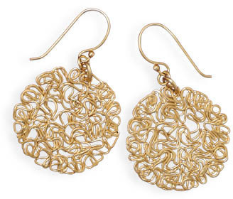 14 Karat Gold Plated Wire Earrings 925 Sterling Silver - DISCONTINUED