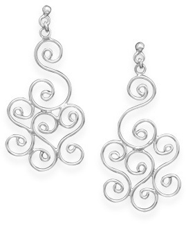 Swirl Design Earrings 925 Sterling Silver
