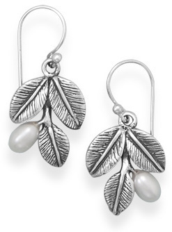 Oxidized Leaf Earrings with Cultured Freshwater Pearls 925 Sterling Silver