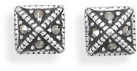 Pyramid Style Marcasite Earrings 925 Sterling Silver