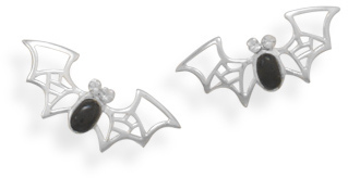Black Onyx and Crystal Bat Earrings 925 Sterling Silver
