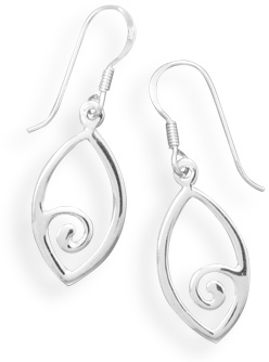 Marquise Earrings with Swirl Design 925 Sterling Silver