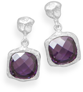 Textured Purple CZ Earrings 925 Sterling Silver