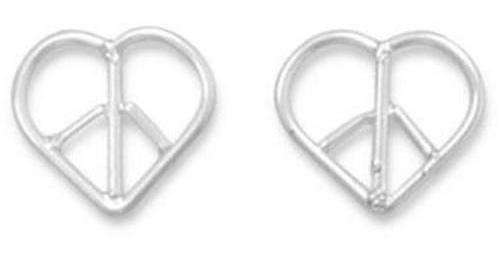 Heart Peace Sign Earrings 925 Sterling Silver
