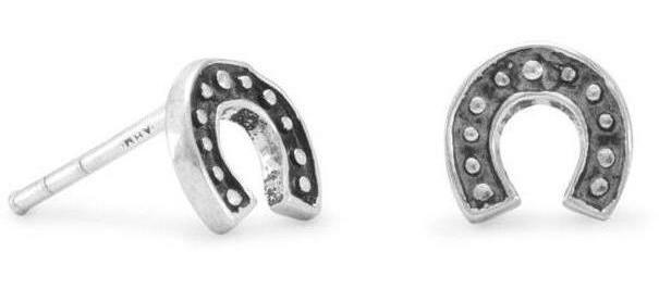 Oxidized Horseshoe Stud Earrings 925 Sterling Silver