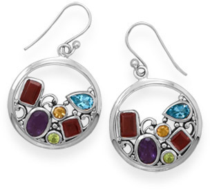 Oxidized Genuine Stone Multishape Earrings 925 Sterling Silver