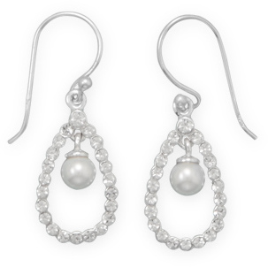 Pear Crystal Earrings with Simulated Pearl Drop 925 Sterling Silver