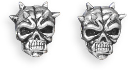 Oxidized Skull Stud Earrings 925 Sterling Silver