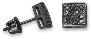 Black Rhodium Plated Pave CZ Earrings 925 Sterling Silver