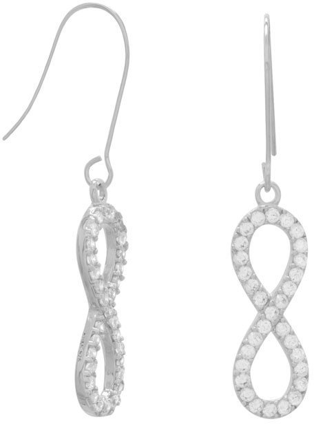 Rhodium Plated CZ Infinity Drop Earrings 925 Sterling Silver