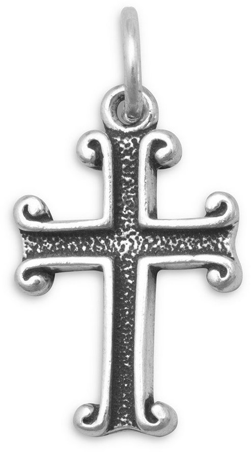 Oxidized Cross Charm 925 Sterling Silver