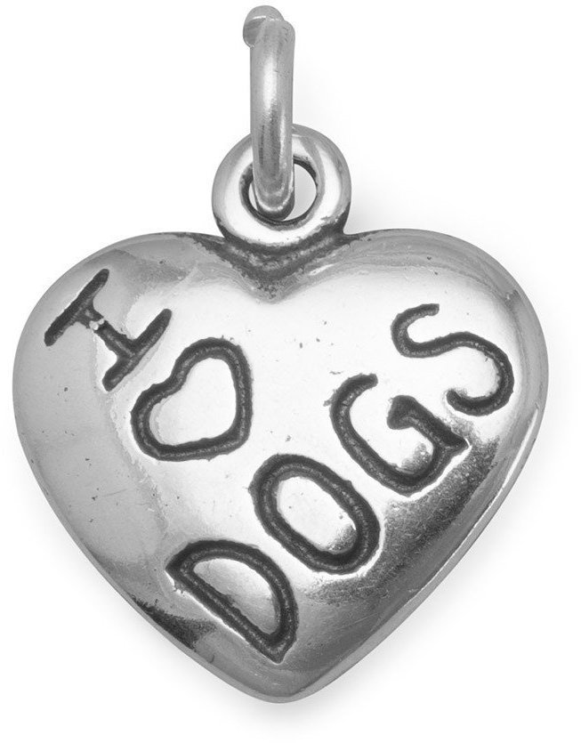 I Love DOGS Charm 925 Sterling Silver