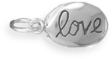 "Oxidized ""love"" Charm 925 Sterling Silver"