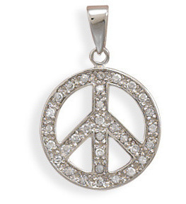 Rhodium Plated CZ Peace Sign Pendant 925 Sterling Silver