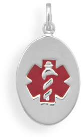 Oval Medical Alert Pendant 925 Sterling Silver