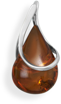 Tear Drop Baltic Amber Pendant 925 Sterling Silver - DISCONTINUED