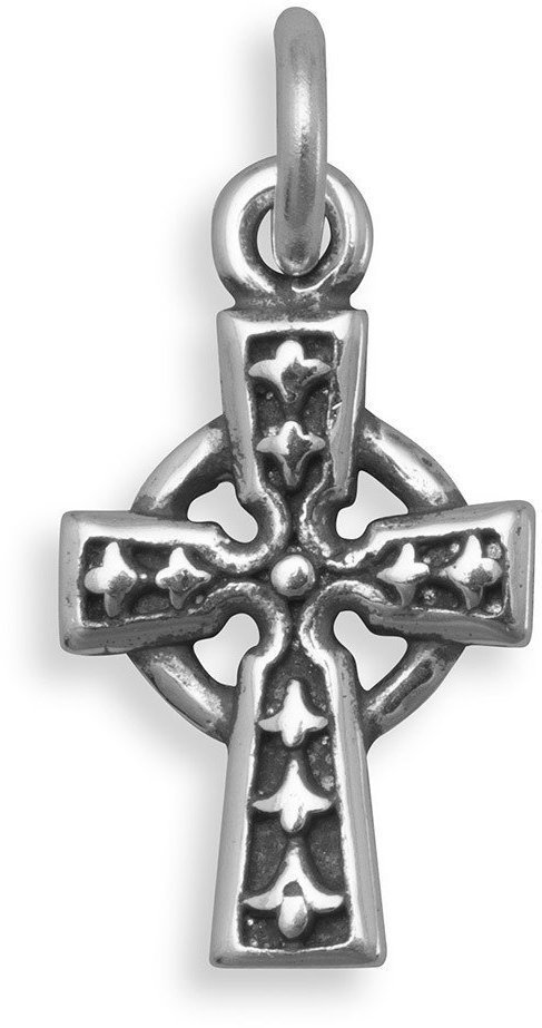 Oxidized Celtic Cross Charm 925 Sterling Silver