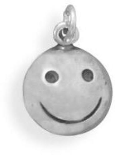 Oxidized Smiley Face Charm 925 Sterling Silver