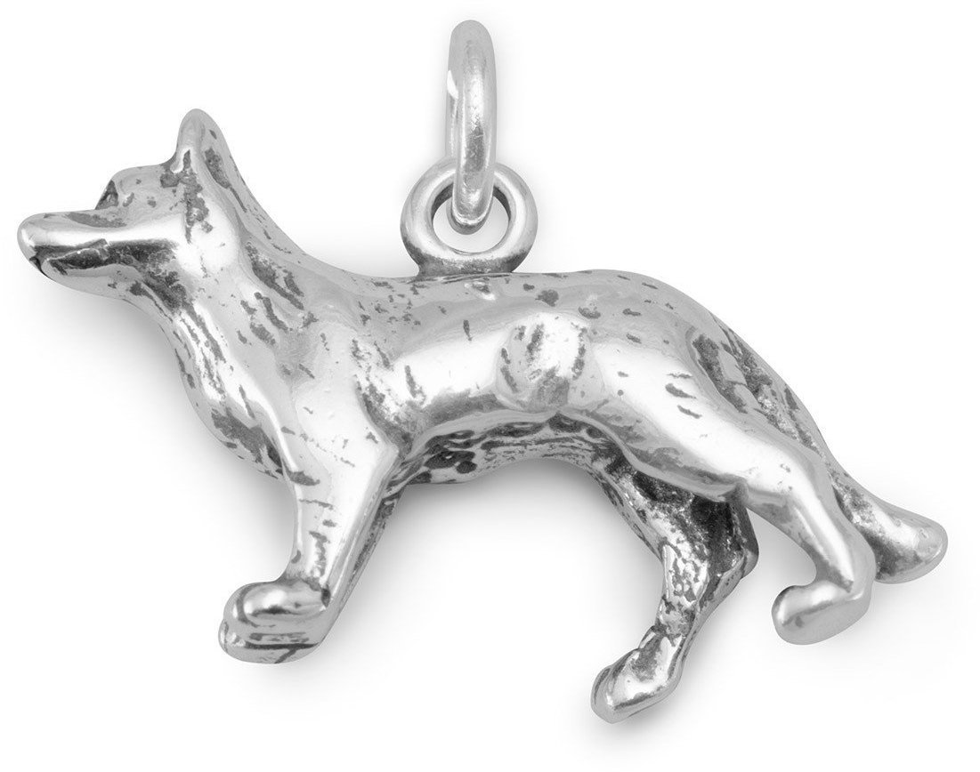 Oxidized German Shepherd Charm 925 Sterling Silver