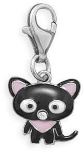 Rhodium Plated Cat Charm with Lobster Clasp 925 Sterling Silver