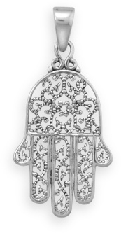 Oxidized Hamsa Pendant 925 Sterling Silver - DISCONTINUED