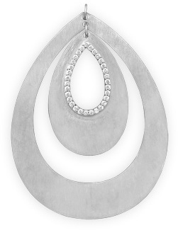 Rhodium Plated Double Pear Shape Drop Pendant 925 Sterling Silver
