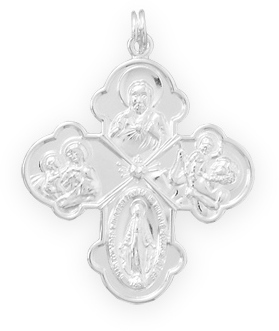 Four Image Cross Pendant 925 Sterling Silver