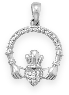 Rhodium Plated Micro Pave CZ Claddagh Pendant 925 Sterling Silver