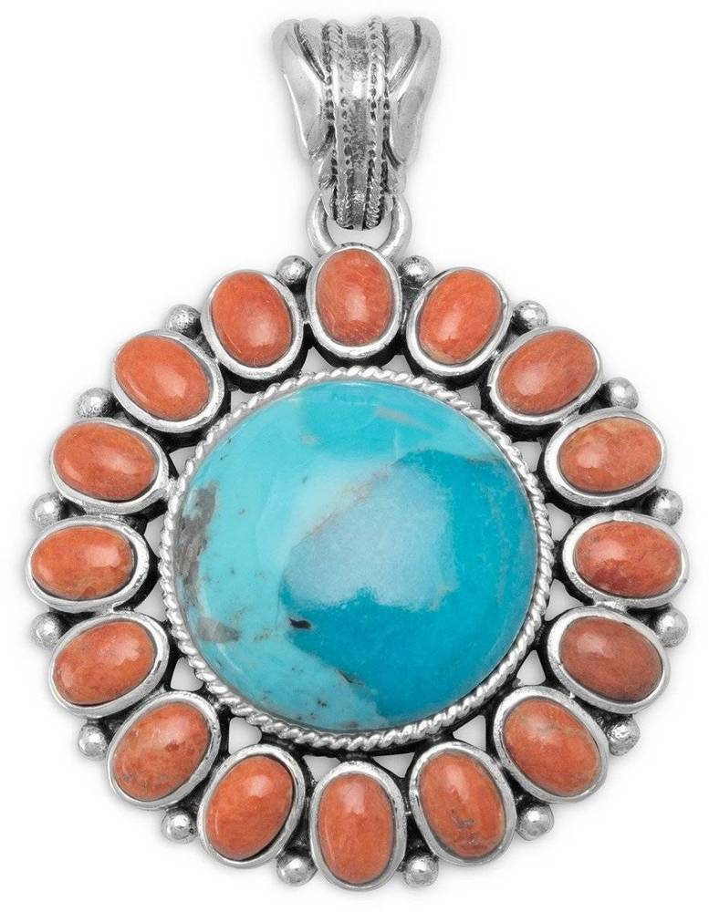 Turquoise and Coral Sunburst Pendant 925 Sterling Silver