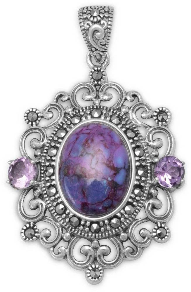 Ornate Marcasite and Purple Turquoise Pendant 925 Sterling Silver