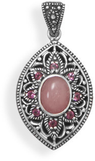 Pink Opal and Rhodolite Pendant 925 Sterling Silver