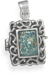 Roman Glass Locket 925 Sterling Silver