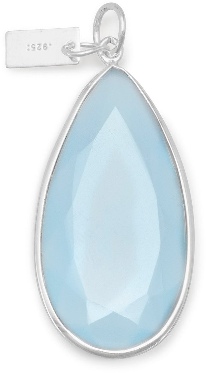 Blue Chalcedony Pear Shape Pendant 925 Sterling Silver