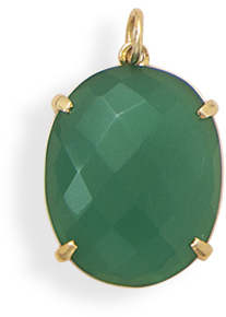 14 Karat Gold Plated Green Onyx Pendant 925 Sterling Silver
