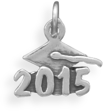 "Oxidized ""2015"" Charm 925 Sterling Silver"